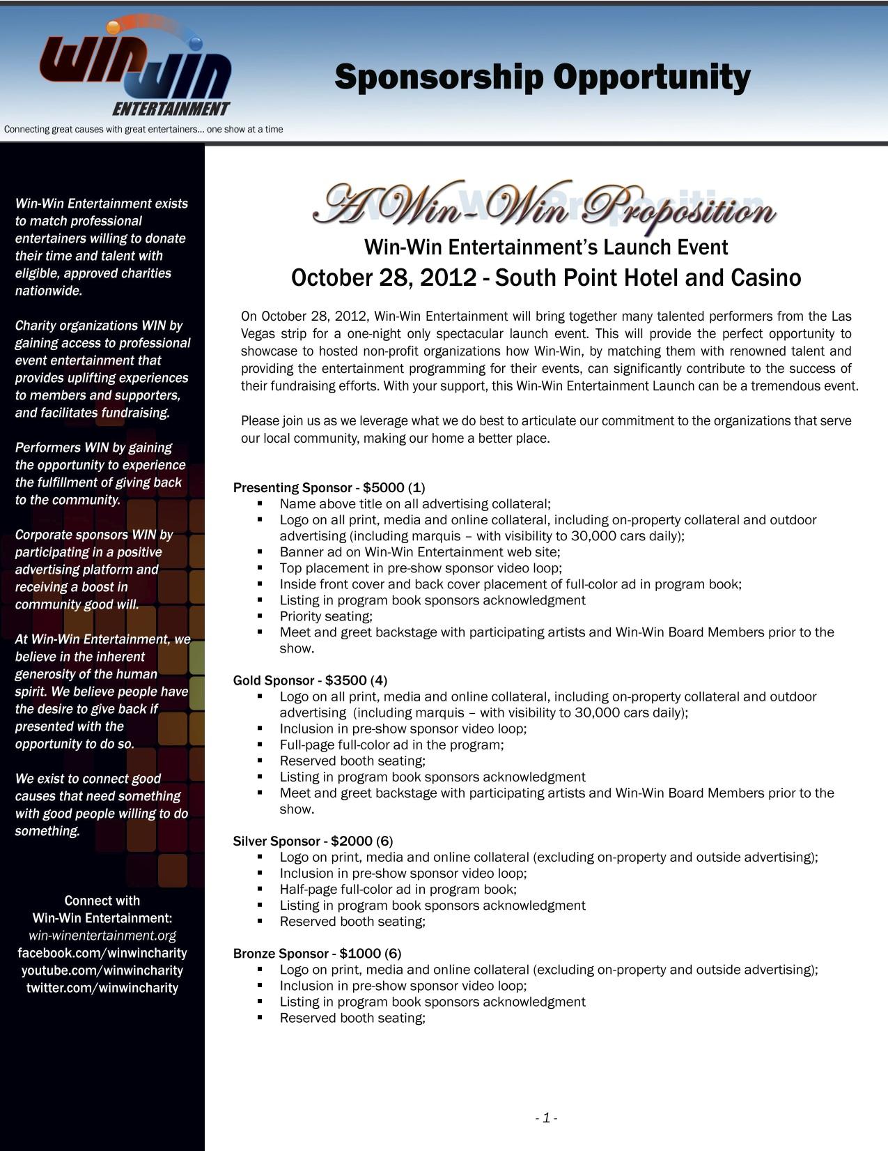 Win-Win Sponsorship Deck Page 1